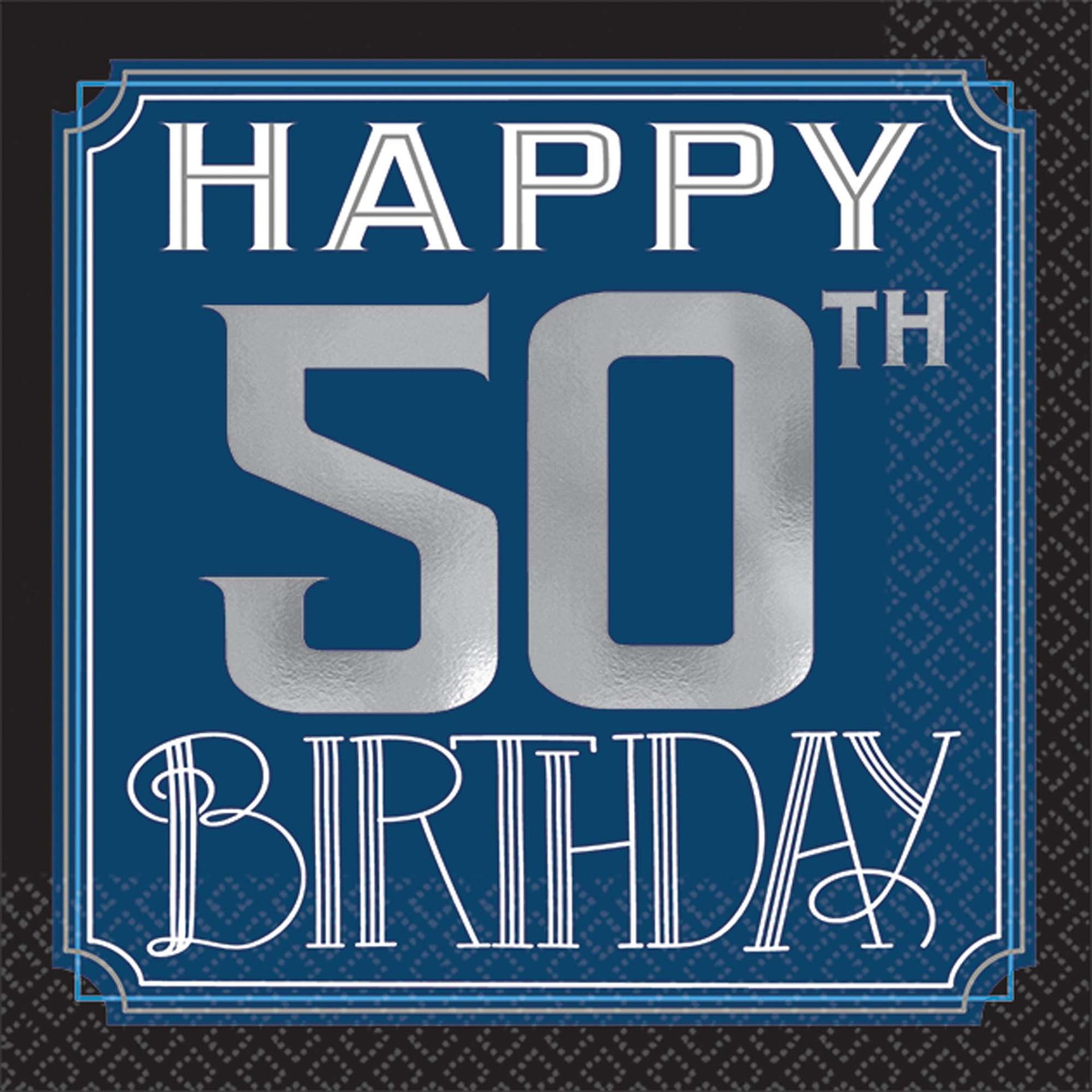 Happy Birthday Man 50th Birthday Beverage Napkins Walmart Com