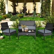 Gymax Patio Garden 4PC Rattan Wicker Furniture Set Black