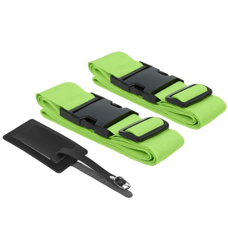 Suitcase Straps/Luggage Straps - TSA Friendly Travel Belt and Tag 2 Pack Set - for Roller Luggage, Carry On, Suitcases - Neon Green, Fits 20-32 Inch (Best Carry On Roller Bag)