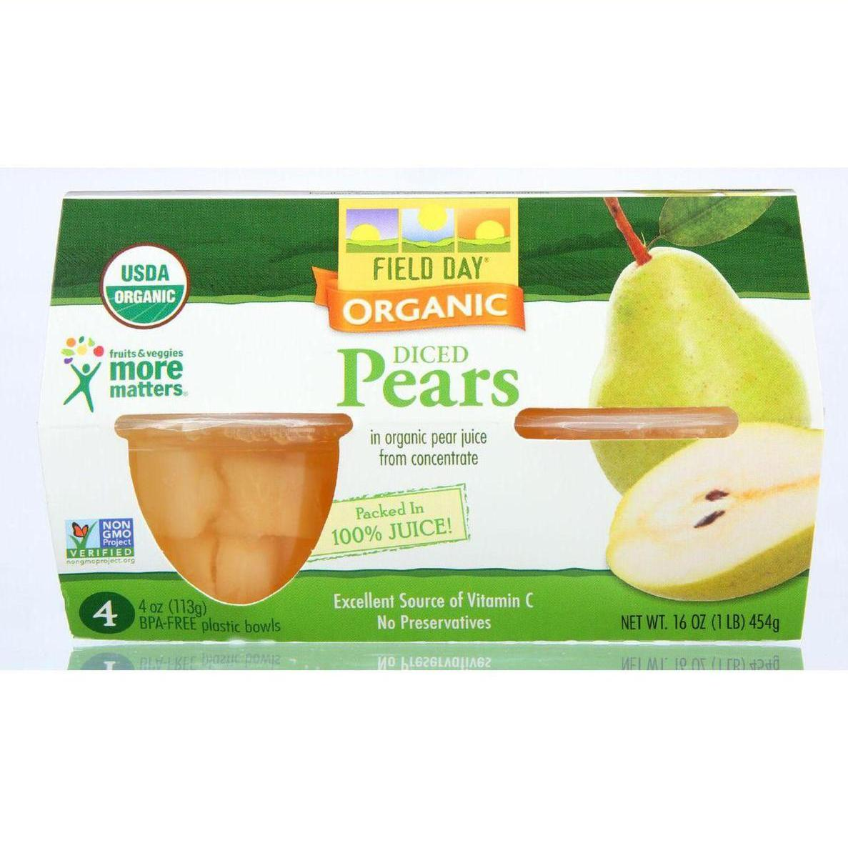 Field Day Fruit Cups - Organic - Pears - 4/4 oz - case of 6