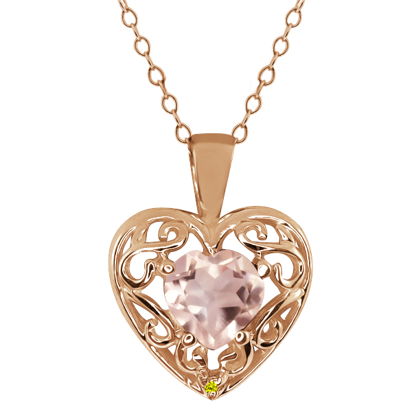 0.71 Ct Heart Shape Quartz Canary Diamond Gold Plated Sterling Silver Pendant