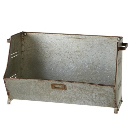 Set of 2 Country Rustic Galvanized Wall Mounted Storage Bin Organizer 22""