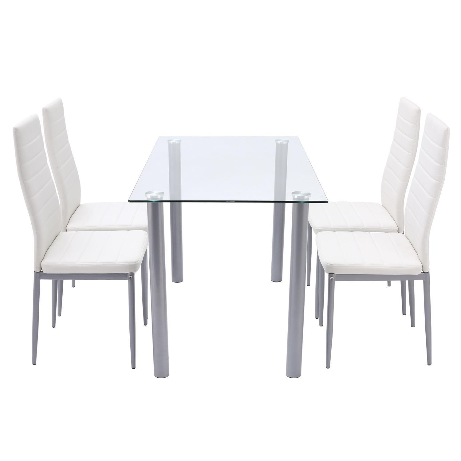 2018 Best Ppoular 5 Piece Dining Set Clear Tempered Glass Rectangle Dining  Table With 4pcs