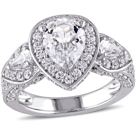 Miabella 4-7/8 Carat T.G.W Created White Sapphire Sterling Silver Halo Engagement Ring