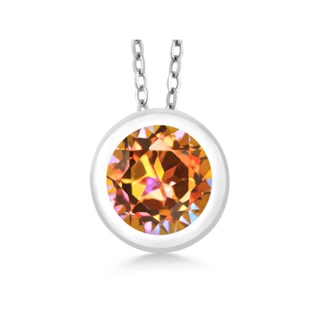 0.95 Ct Round Ecstasy Mystic Topaz 925 Sterling Silver Pendant With 18