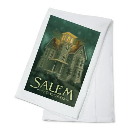Salem, Massachusetts - Haunted House - Halloween Oil Painting - Lantern Press Artwork (100% Cotton Kitchen (Best Haunted Houses In Salem Massachusetts)