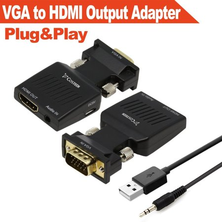 Costech VGA to HDMI Output, Gold-Plated Active HD 1080p TV AV HDTV Video Converter Adapter Box Plug and Play with Audio for Monitors, Displayers,Laptop Desktop Computer