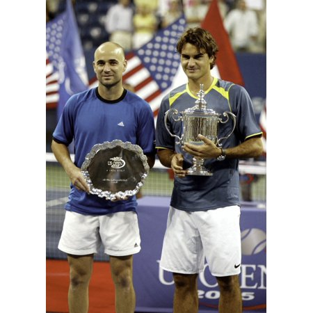 Andre Agassi And Roger Federer At The Us Open Photo Print