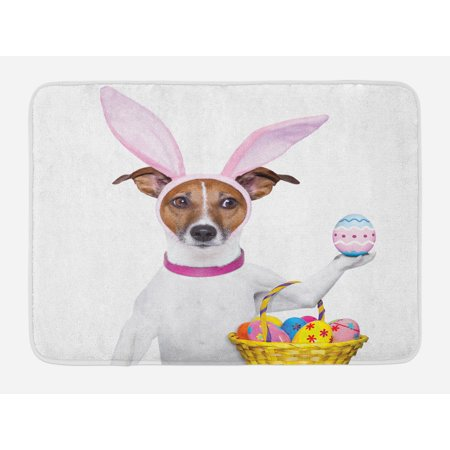 Easter Bath Mat, Dog Dressed up as Easter Bunny Holding a Basket of Eggs Funny Animal Illustration, Non-Slip Plush Mat Bathroom Kitchen Laundry Room Decor, 29.5 X 17.5 Inches, Multicolor, Ambesonne Dress Basket