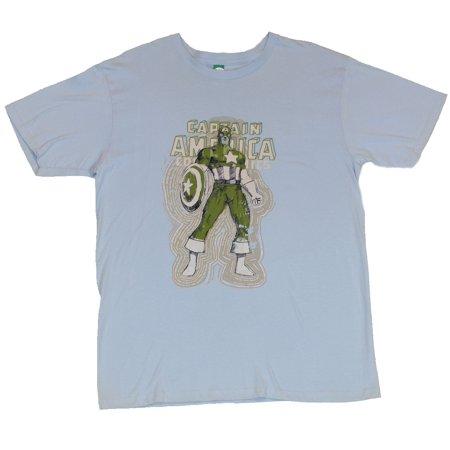 - Captain America (Marvel Comics) Mens T-Shirt  - Rippling Green Sketch image