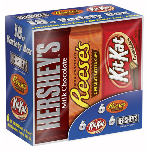 Hershey's Full-Size Bars Variety Candy Pack, 18 count