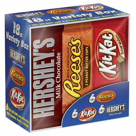 Hershey's, Halloween Candy, Full Size Chocolate Candy Bars Variety Pack, 27.3 Oz, 18 Ct - Homemade Candy Bar Halloween Costumes