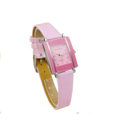Small Elegant Woman Modern Dress Rectangle Dial Pink Band Crystal Wrist