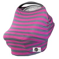 JLIKA Baby Car Seat Covers Stretchy Infant Canopy and Nursing cover for breastfeeding newborns infants babies girls boys best shower gift maternity apron infinity scarf carseats! (Cherry/Gray Stripe)
