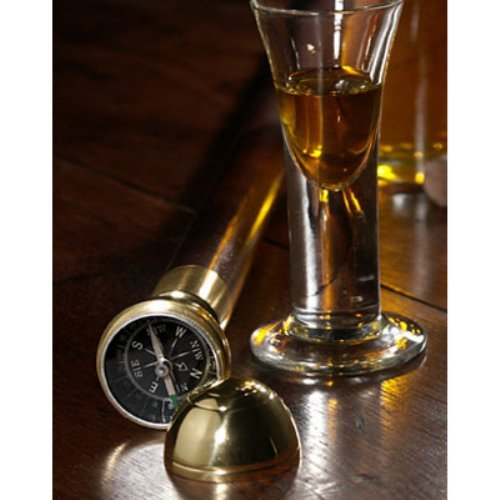 Vintage Captain's Walking Stick - Hidden Compass - Made of Solid Wood with Brass Knob - Gift Bag Included - Authentic Mo