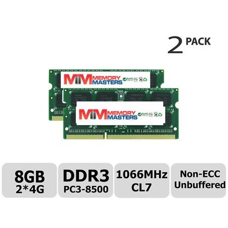 MemoryMasters Hynix IC 8GB Kit (2x4GB) DDR3 1066MHz PC3-8500 Unbuffered Non-ECC 1.5V CL7 2Rx8 Dual Rank 204 Pin SODIMM Apple Memory RAM Module Upgrade (8GB Kit (2x4GB))