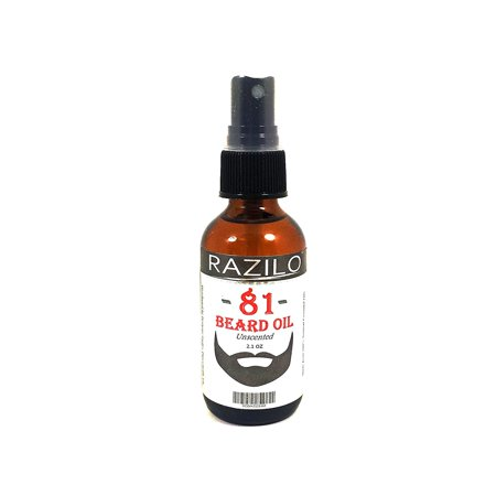 RAZILO 81 Unscented Beard Spray Oil for Men. Leave-in Beard & Mustache Conditioner Made from Natural Premium Essential Oils to Promote Healthy Facial Hair Growth & Softer Face Skin, 2.1oz Spray