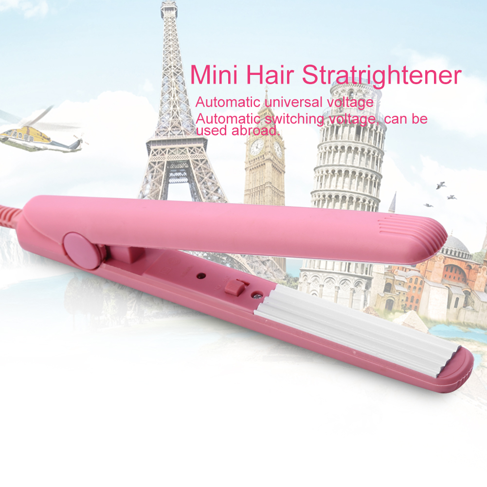 Pink Ceramic Mini Tourmaline Hair Straightener Iron Curler Hair Styling Tools for Travel