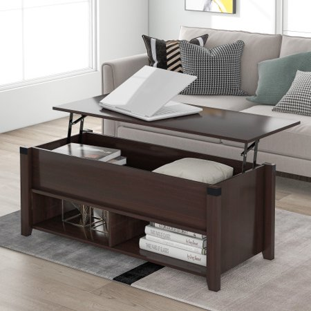 [Pick Up Unavailable Of Ups] Multipurpose Coffee Table With Drawers ,Open Shelf And Storage, Lifting Top Table For Living Room