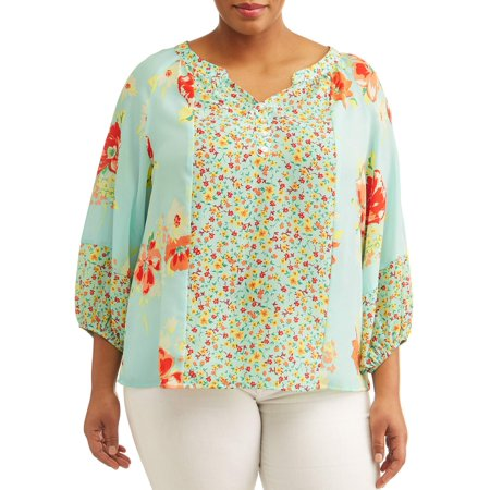 Women's Plus Sized Peasant Floral Printed Blouse (Peasent Clothing)