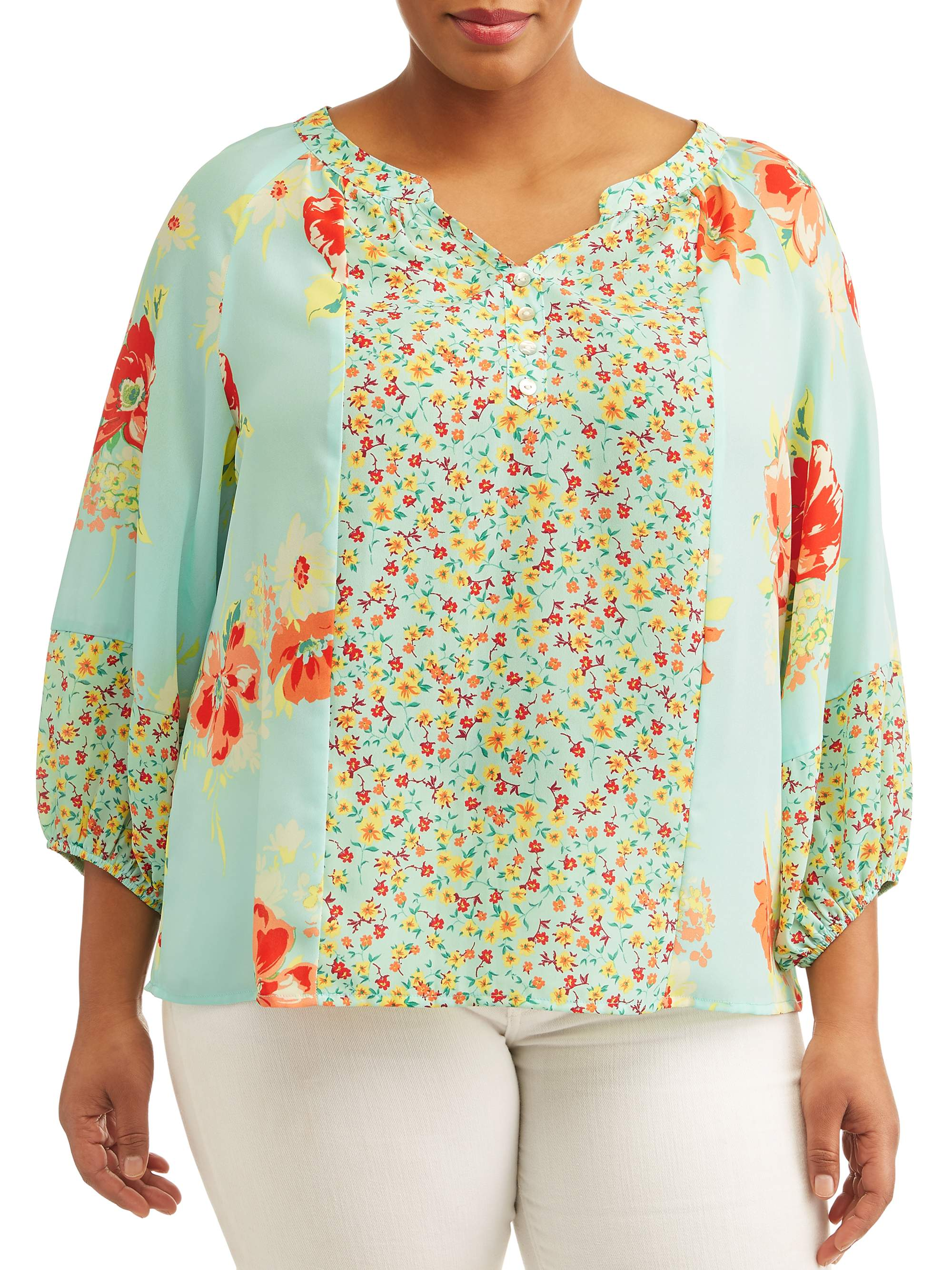 Women's Plus Sized Peasant Floral Printed Blouse