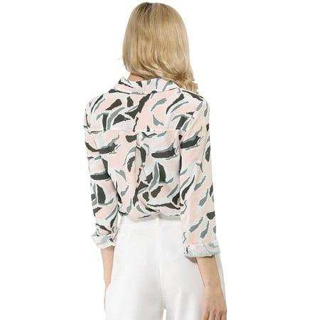 Allegra K Chemise à Manches Longues et à Fleurs pour Femmes Rose XL (EU 48) - image 2 de 6