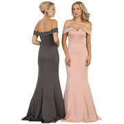 SIMPLE YET SEXY OFF THE SHOULDER PROM EVENING GOWN & PLUS SIZE
