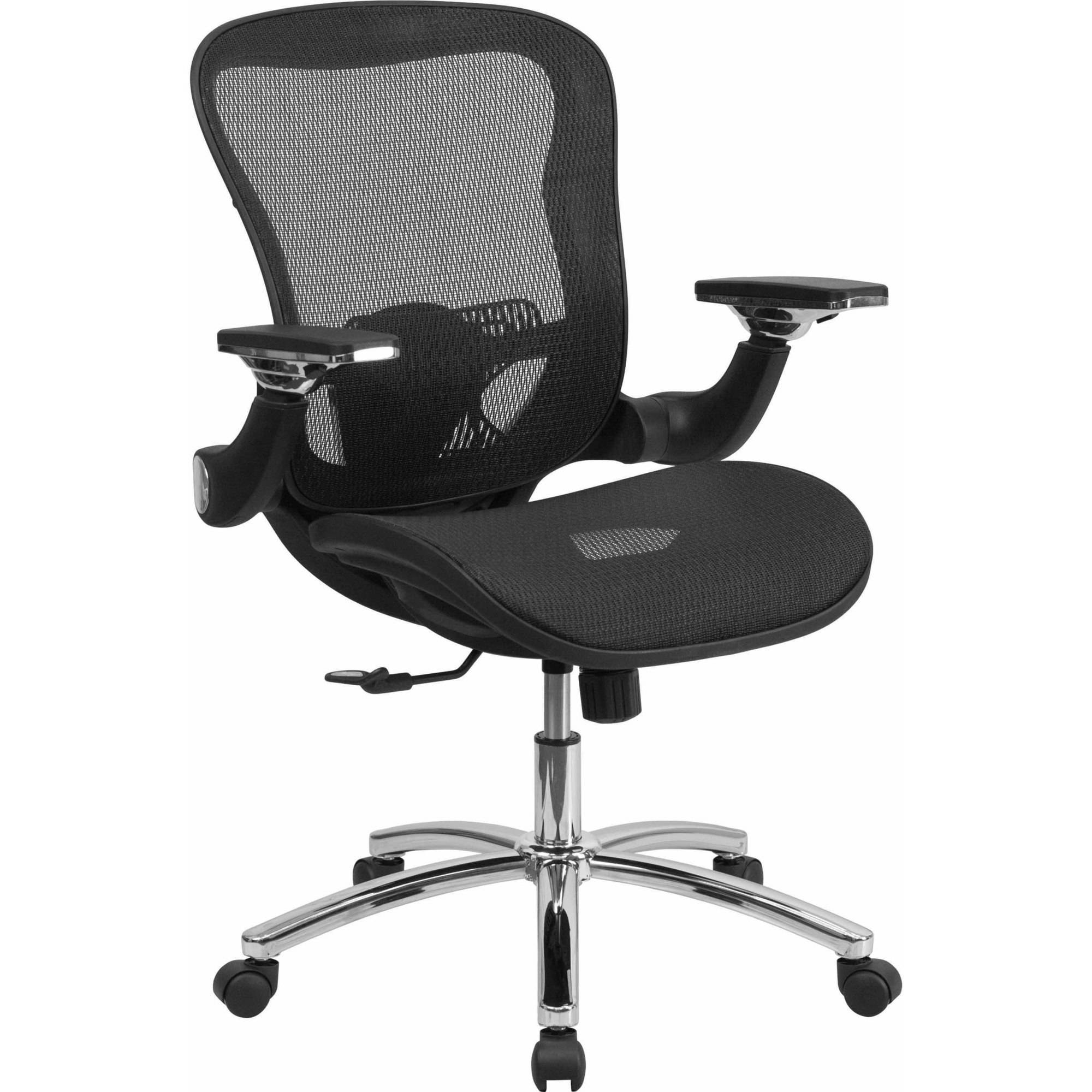 Flash Furniture Mid-Back Black Mesh Executive Swivel Office Chair with Synchro-Tilt and Height Adjustable Flip-Up Arms
