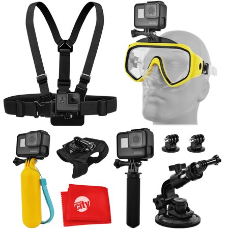 - Accessory Bundle for GoPro HERO5 Black / Session Action Camera w/ Scuba Diving Mask, HandGrip, Floating Handle, Chest Strap, Wrist/Glove Mount, Tripod Adapter, Car Window Suction Cup, Cleaning Cloth