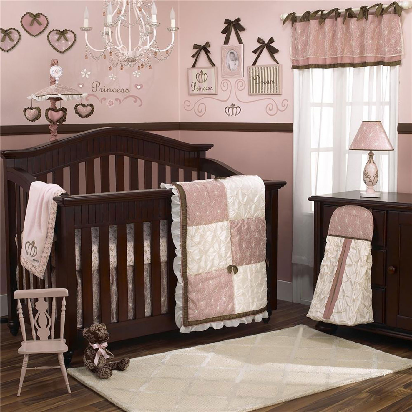 Cocalo 8 Piece Baby Girl Crib Bedding Set   Pink And Ivory Patchwork    Daniella Crib Bedding Collection