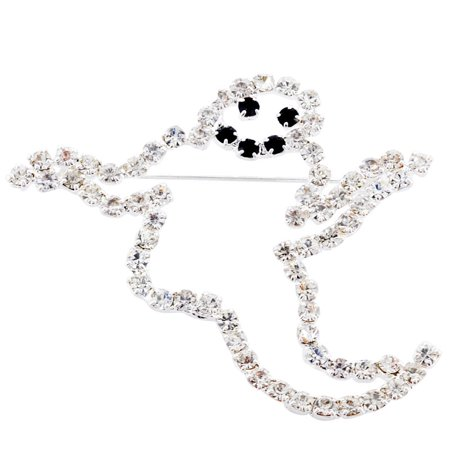 Crystal Ghost Halloween Brooch Pin for $<!---->