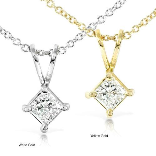Annello  by Kobelli 14k Gold 1/3ct Princess Diamond Solitaire Necklace