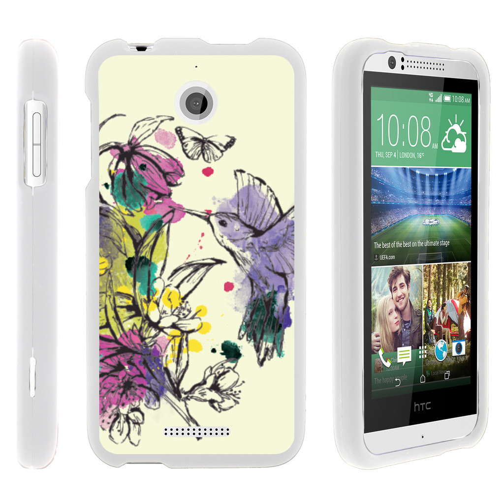 HTC Desire 510, [SNAP SHELL][White] Hard White Plastic Case with Non Slip Matte Coating with Custom Designs - Hummingbird Flowers