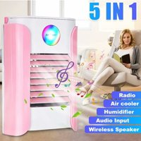 VicTsing 5 IN 1 Portable Air Conditioner Cooler Humidifier Refrigeration BT Music Radio Speaker USB Charge LED Light,Pink