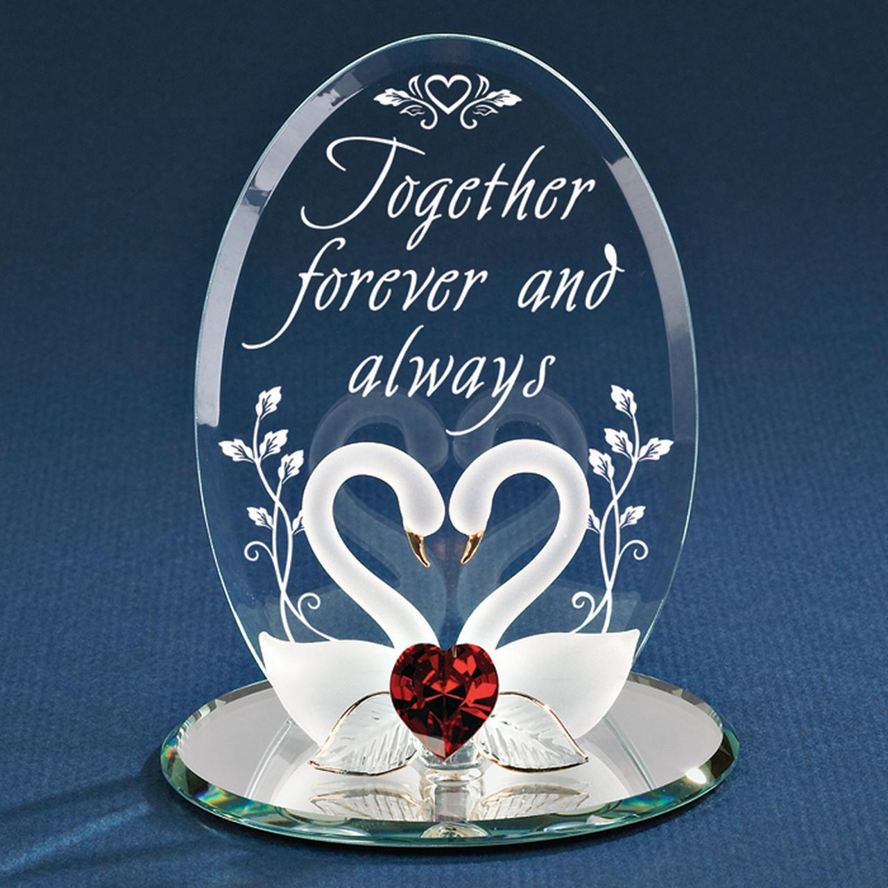 Swans Together Forever Glass Figurine Glas Baron Love Gifts For Women For Her