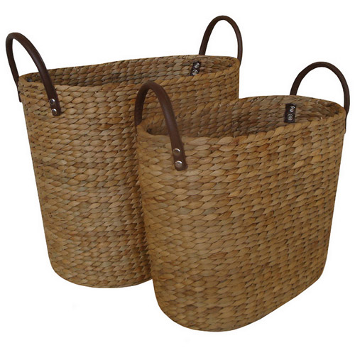 Baum Water Hyacinth Baskets, Set of 2, Natural