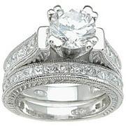 CZ 925 Sterling Silver Rhodium Finish Princess Wedding Set Ring
