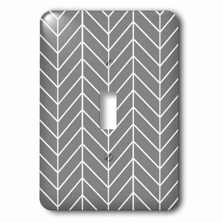 3dRose Charcoal Grey herringbone gray chevron arrow feather inspired pattern, Single Toggle Switch (Herringbone Single)
