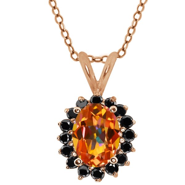 Oval Ecstasy Mystic Topaz Black Diamond Gold Plated Silver  Pendant 1.92 Cttw With 18 Inch Chain
