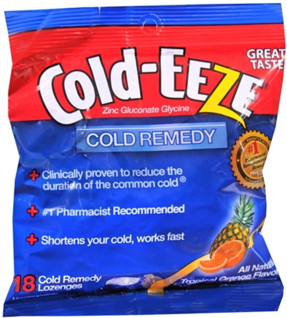 COLD-EEZE Lozenges Natural Tropical Fruit 18 Each (Pack of 2)