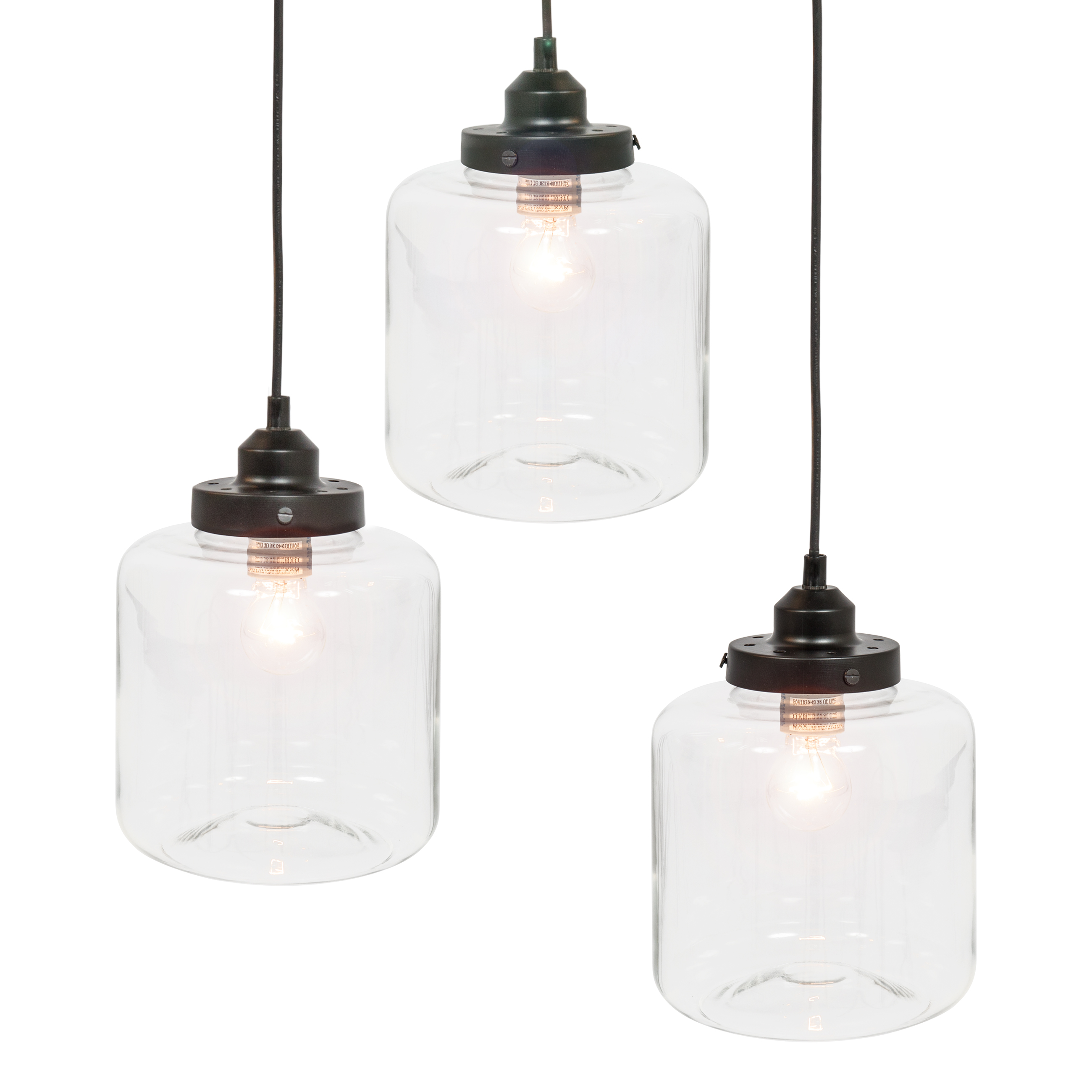 Best Choice Products 3-Light Jar Pendant Chandelier Hanging Light Fixture w  Bulb Included Black by Best Choice Products