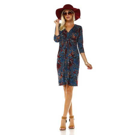 Marcelle Margaux 40040 Sleeve Vneck Dress With Abstract Patterns Inspiration Walmart Dress Patterns