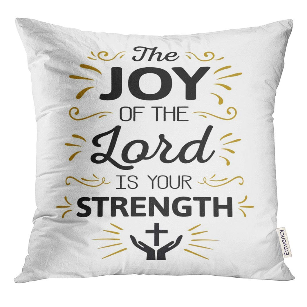 USART The Joy of Lord is My Strength Calligraphy Bible Scripture Emblem with Gold Ornamental Accents and Cross Pillow Case 16x16 Inches Pillowcase