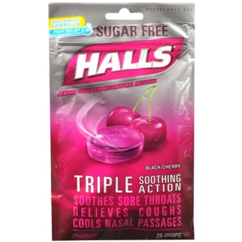 Halls Mentho-Lyptus Drops Sugar Free Black Cherry 25 Each (Pack of 2)