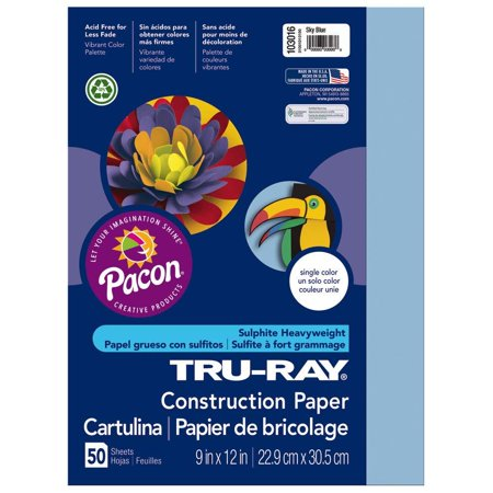 Tru-Ray Heavyweight Construction Paper, Sky Blue, 9
