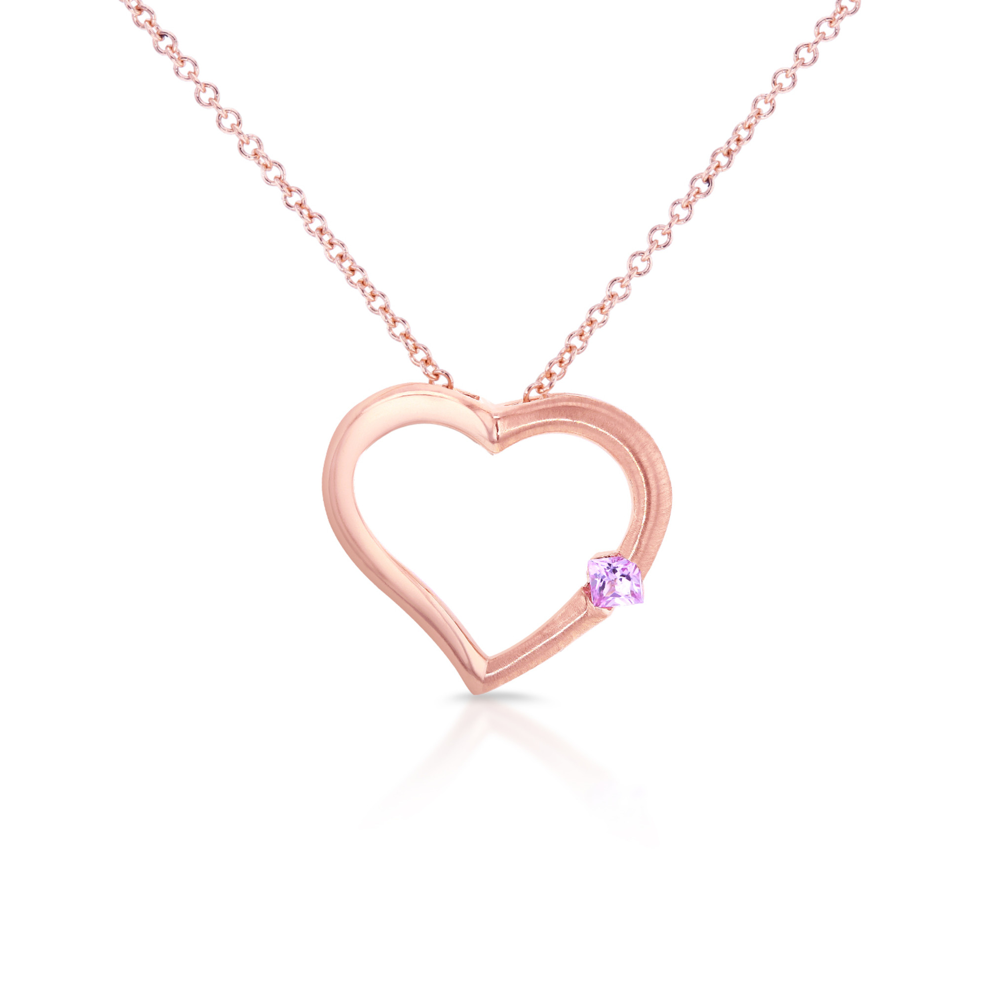 """Pink Sapphire Heart Pendant in 14K Rose Gold (16"""" Chain) by"""