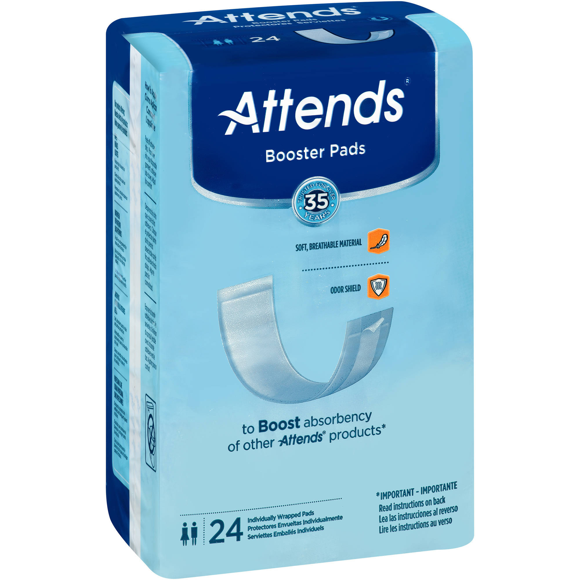Attends Booster Pads, 24 count, (Pack of 8)