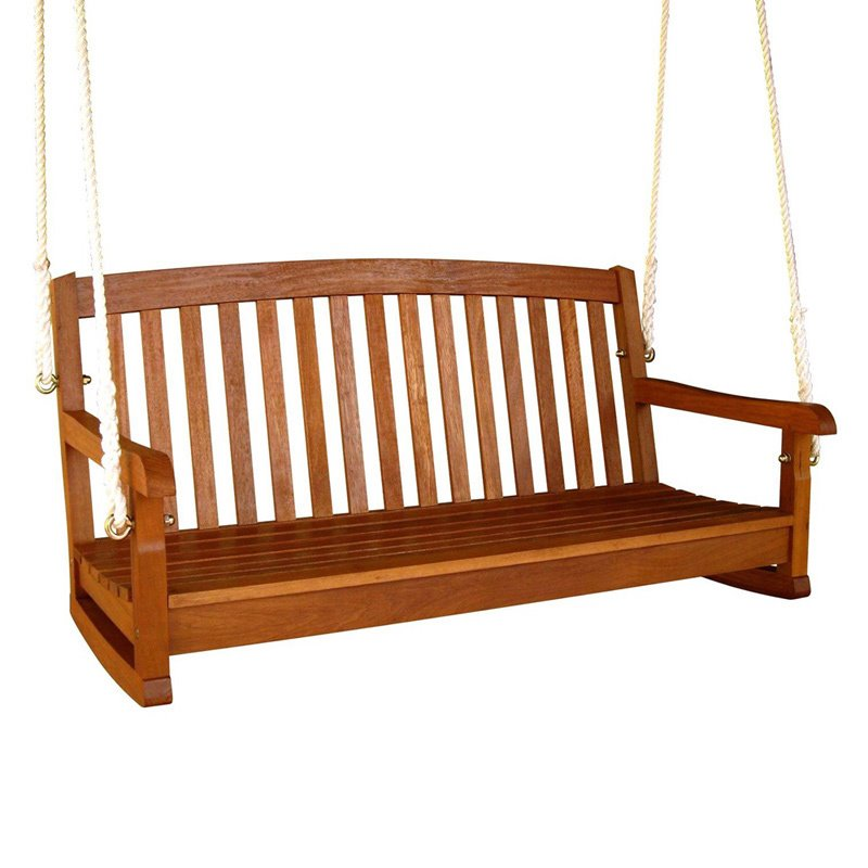 "Pemberly Row 48"" Hanging Porch Swing in Natural"