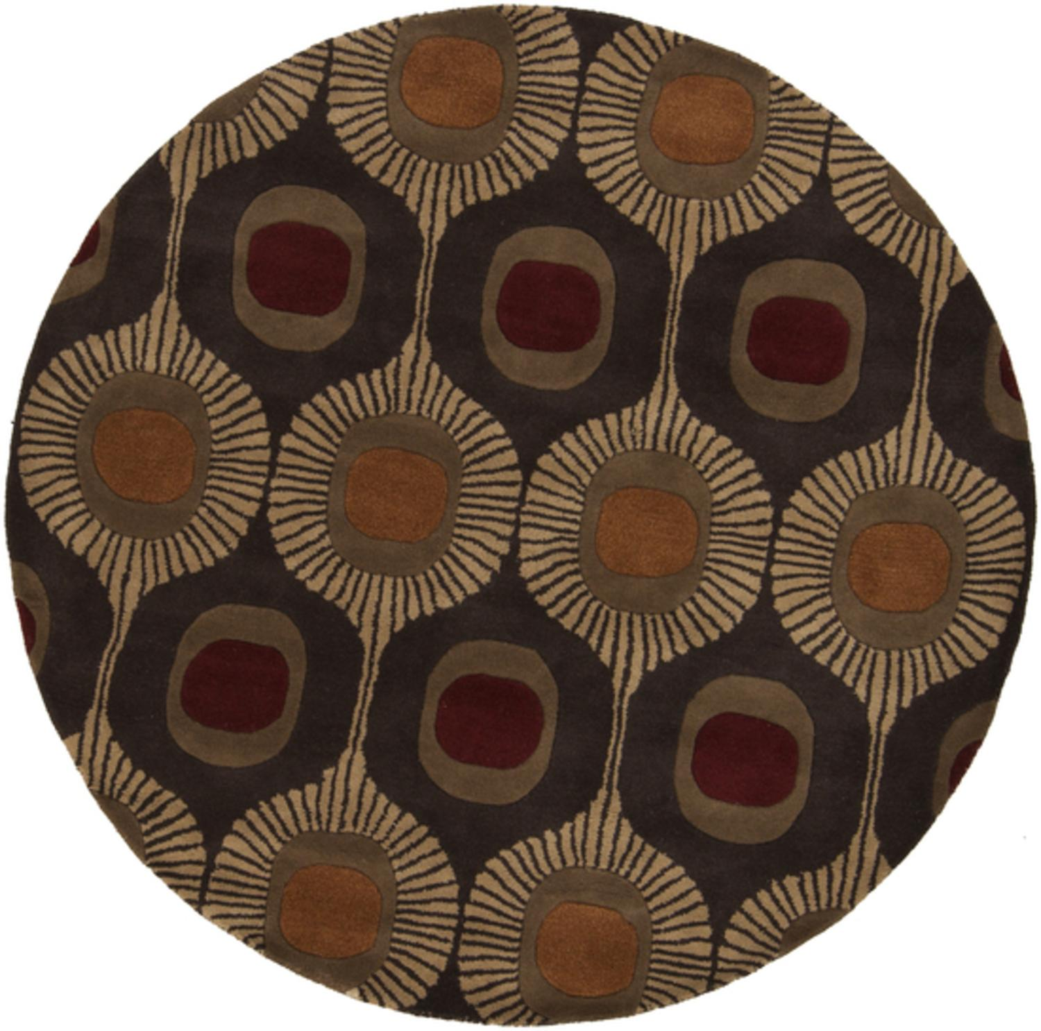 8' Plenigita Olivo Rust, Tan and Beige Hand Tufted Wool Round Area Throw Rug