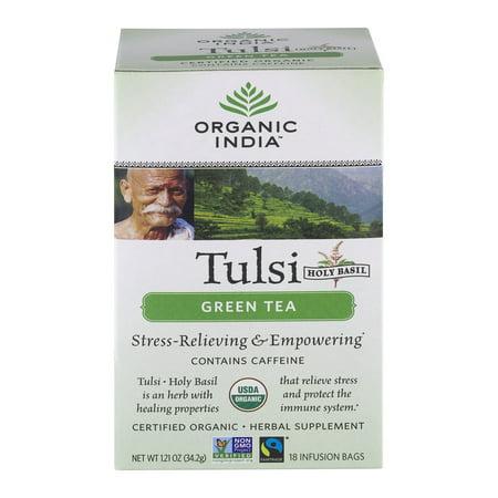 Organic India Saint-Basile Tulsi supplément de plantes sachets d'infusion de thé vert - 18 CT